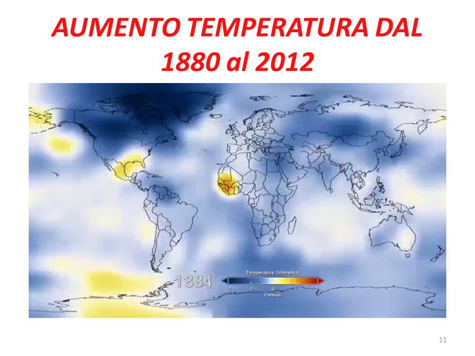 AUMENTO TEMPERATURA DAL 1880 al 2012