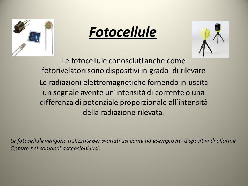 Fotocellule Le fotocellule conosciuti anche come fotorivelatori sono dispositivi in grado di rilevare.