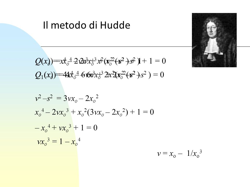 Il metodo di Hudde Q(x) = x4 – 2vx3 + x2(v2 –s2 ) + 1