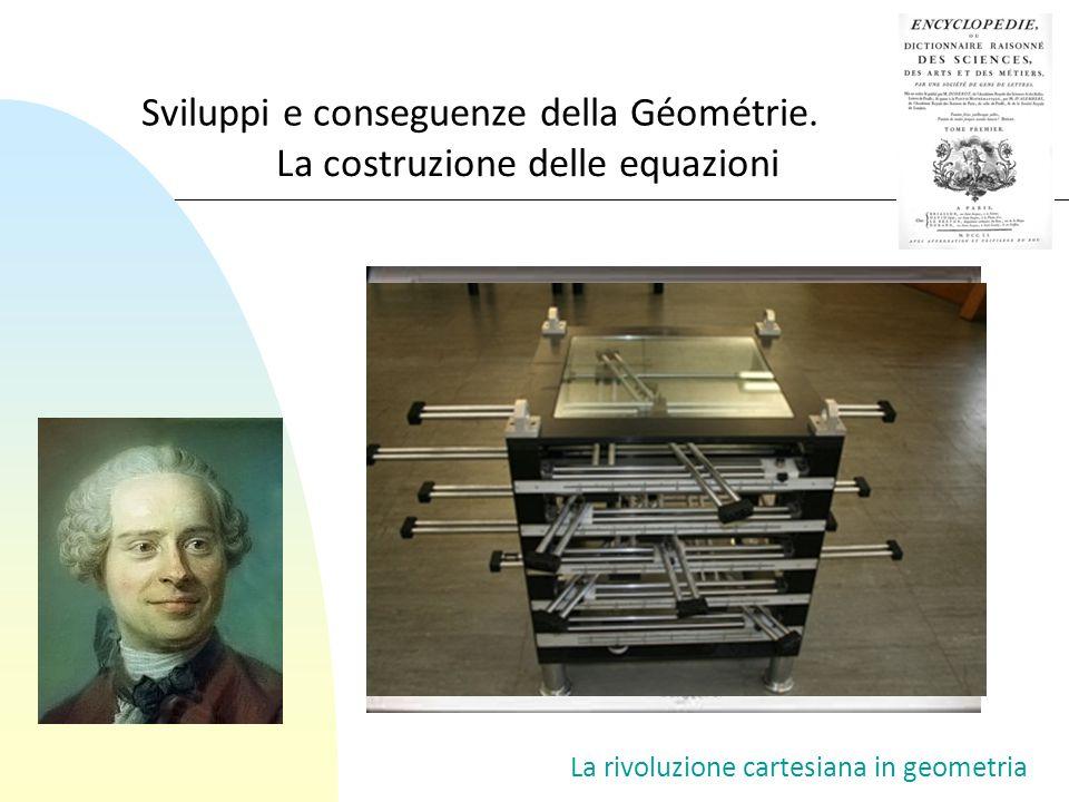 Sviluppi e conseguenze della Géométrie. La costruzione delle equazioni