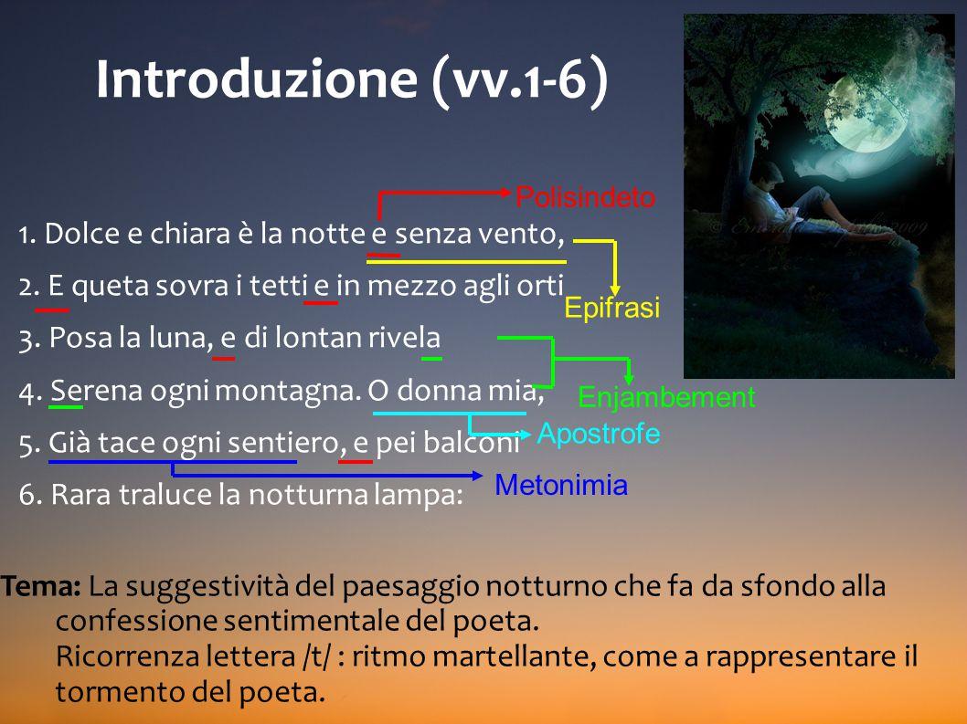 Introduzione (vv.1-6) 1. Dolce e chiara è la notte e senza vento,