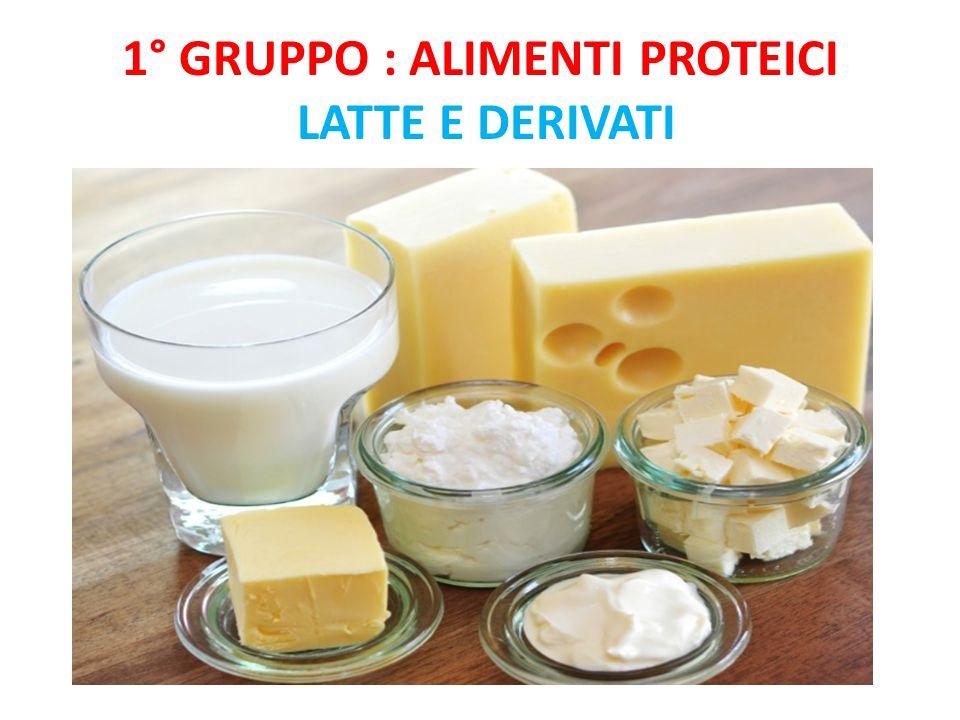 1° gruppo : Alimenti proteici Latte e derivati