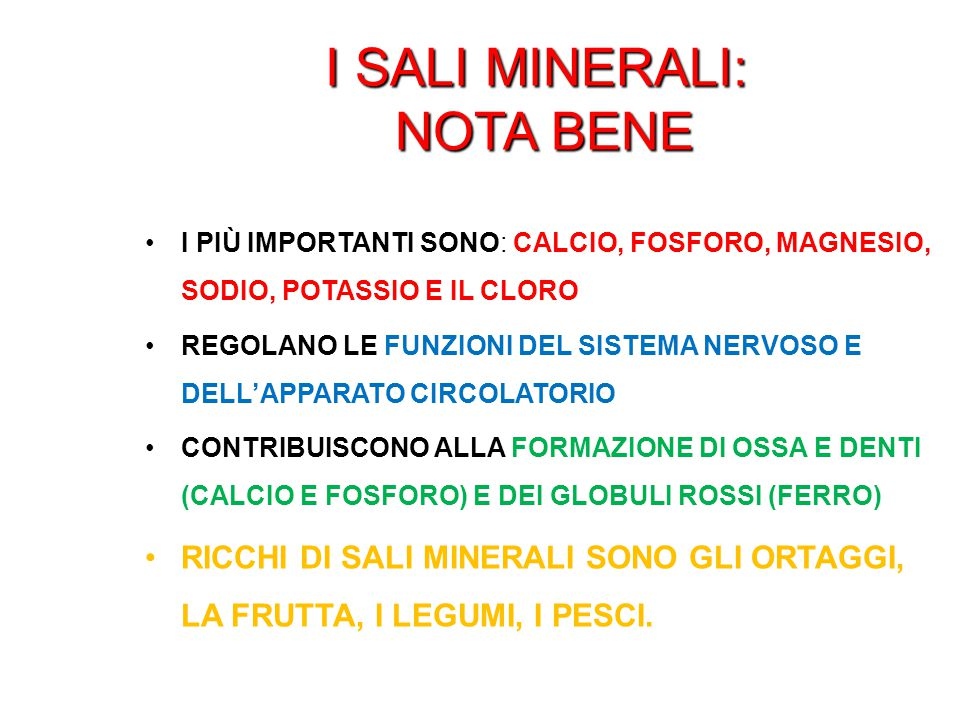 I sali minerali: nota bene