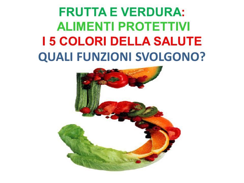frutta e verdura: alimenti protettivi I 5 COLORI DELLA SALUTE QUALI FUNZIONI SVOLGONO