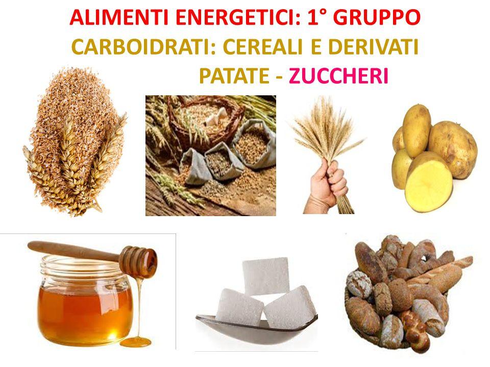 Alimenti energetici: 1° gruppo Carboidrati: cereali e derivati