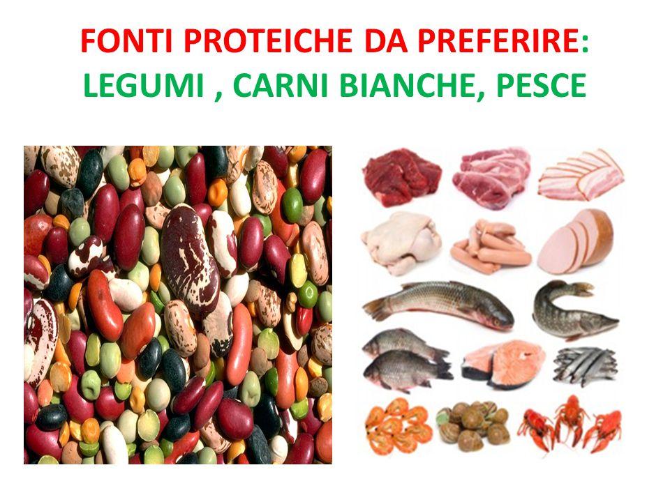 Fonti proteiche da preferire: legumi , carni bianche, pesce