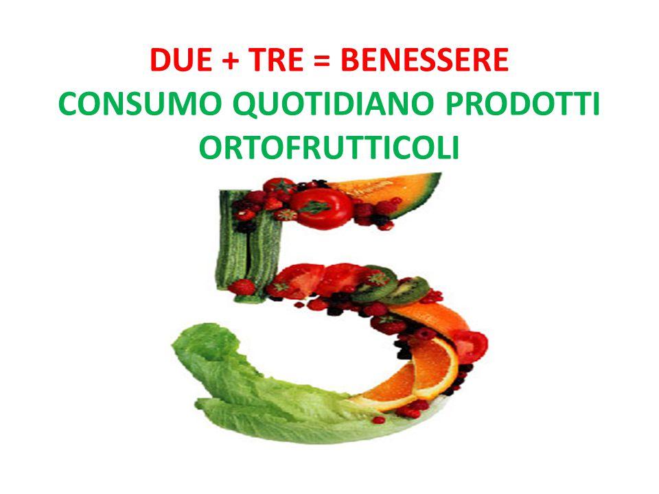 DUE + TRE = benessere consumo quotidiano prodotti ortofrutticoli