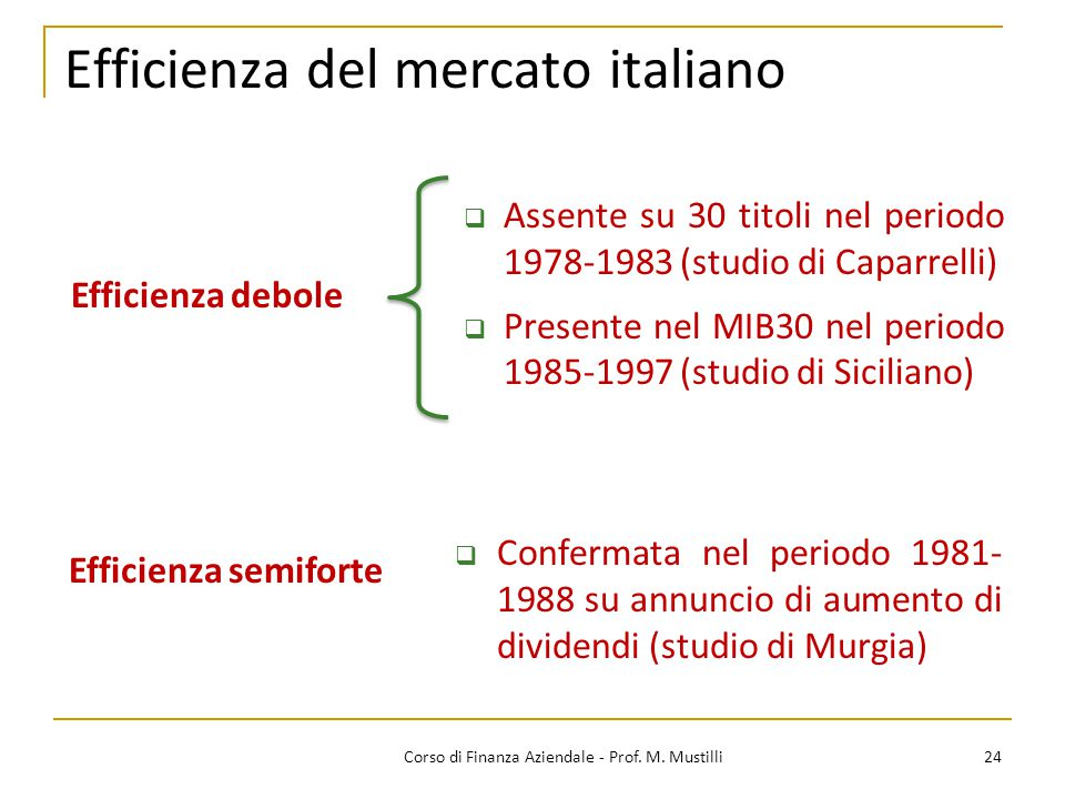 Efficienza del mercato italiano