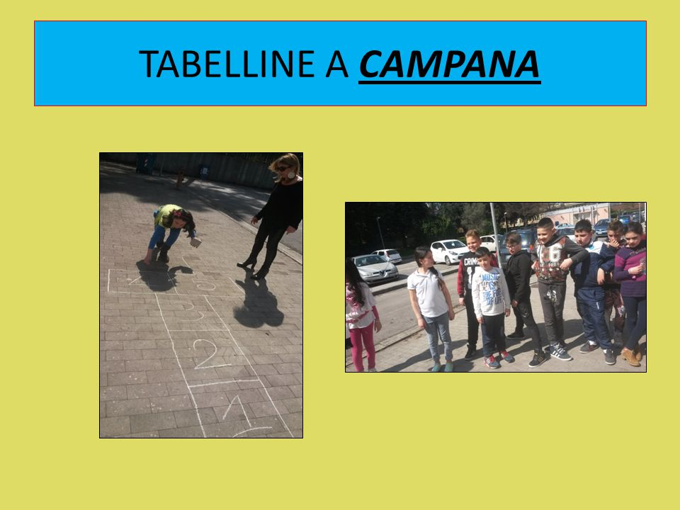 TABELLINE A CAMPANA All'aperto per memorizzare e per fare il gioco delle tabelline utilizzando la cadenza ed il ritmo dei salti della campana!
