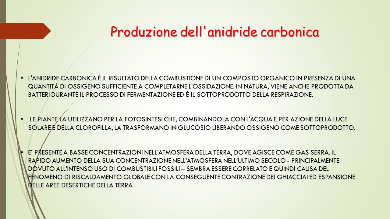 Produzione dell anidride carbonica