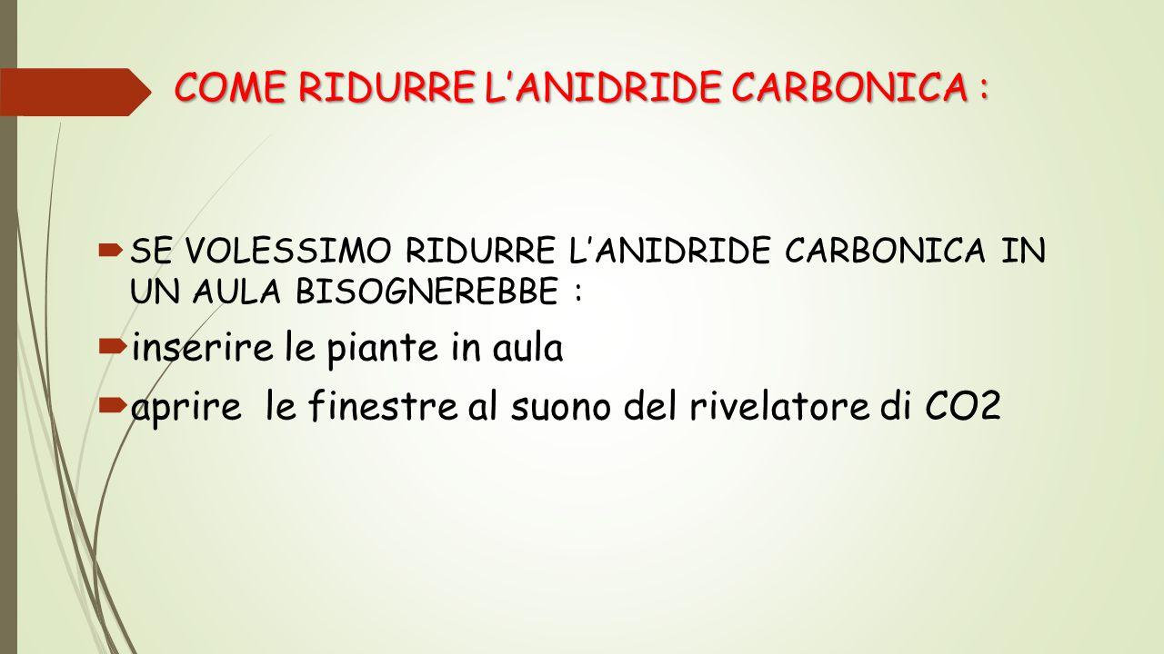 COME RIDURRE L'ANIDRIDE CARBONICA :