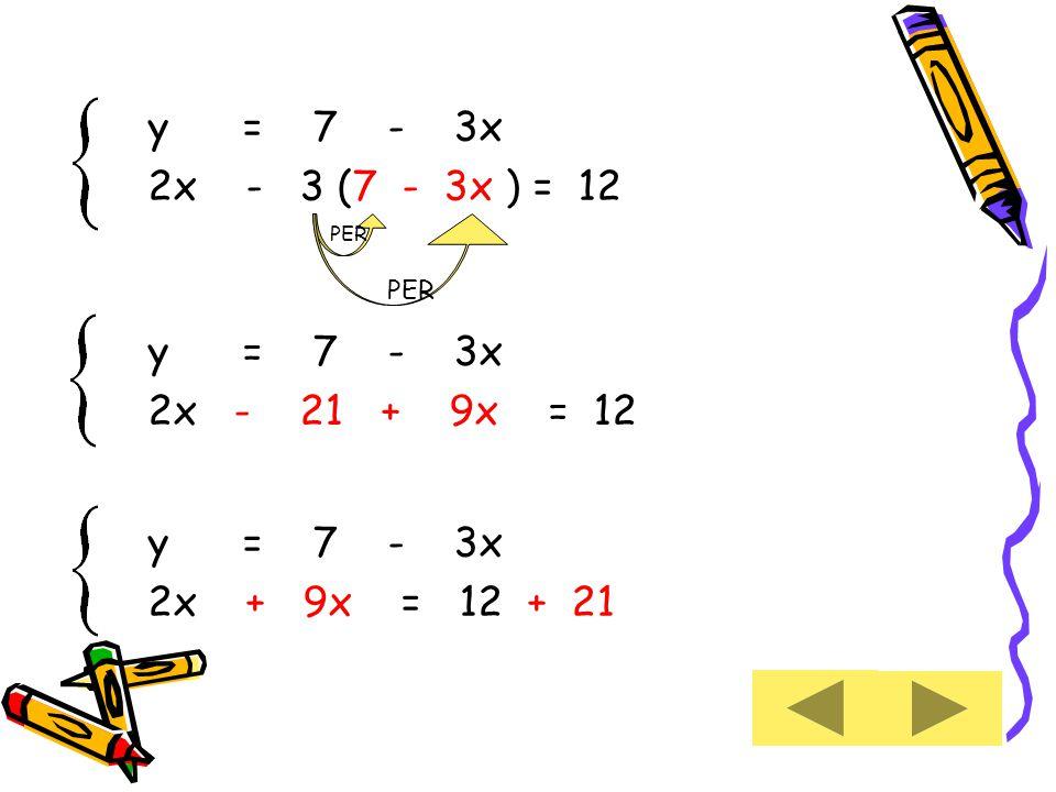 y = 7 - 3x 2x - 3 (7 - 3x ) = 12 y = 7 - 3x 2x - 21 + 9x = 12