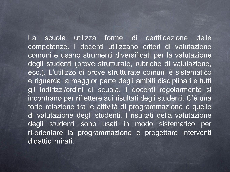 La scuola utilizza forme di certificazione delle competenze