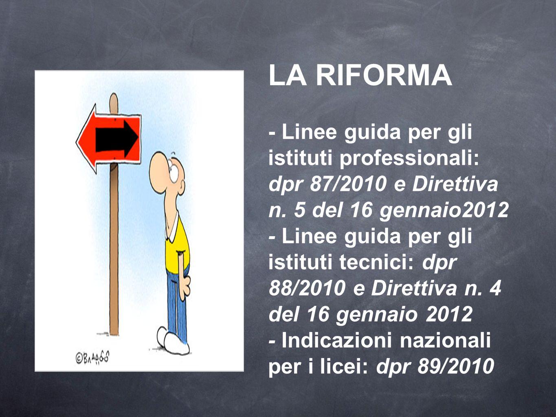 LA RIFORMA - Linee guida per gli istituti professionali: dpr 87/2010 e Direttiva n.