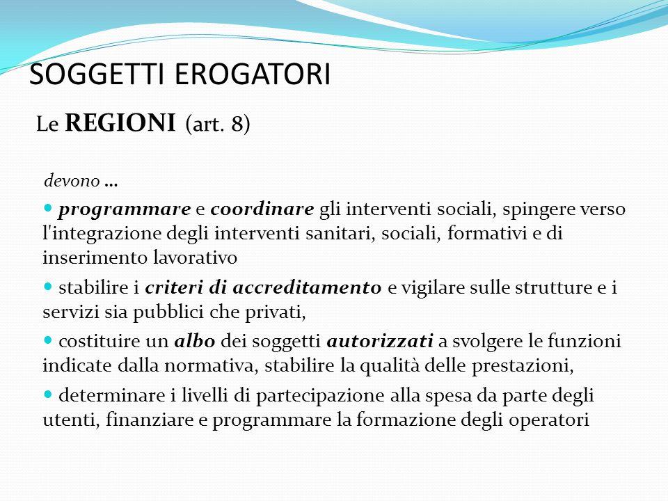 SOGGETTI EROGATORI Le REGIONI (art. 8)