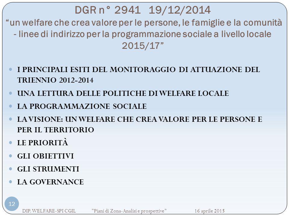 DGR n° 2941 19/12/2014 un welfare che crea valore per le persone, le famiglie e la comunità - linee di indirizzo per la programmazione sociale a livello locale 2015/17