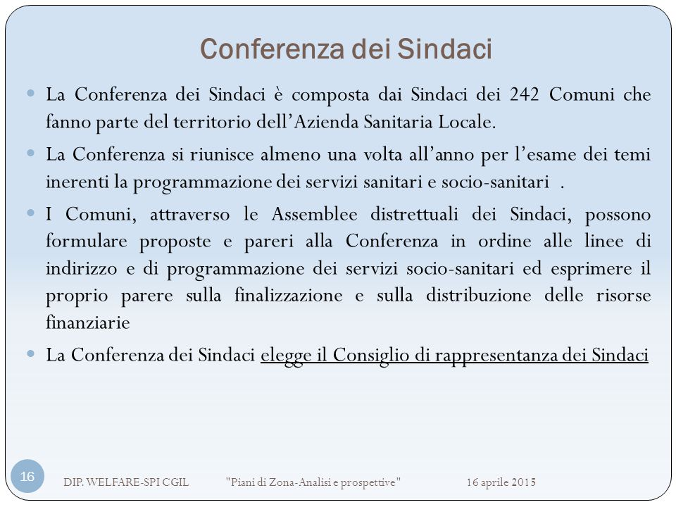 Conferenza dei Sindaci