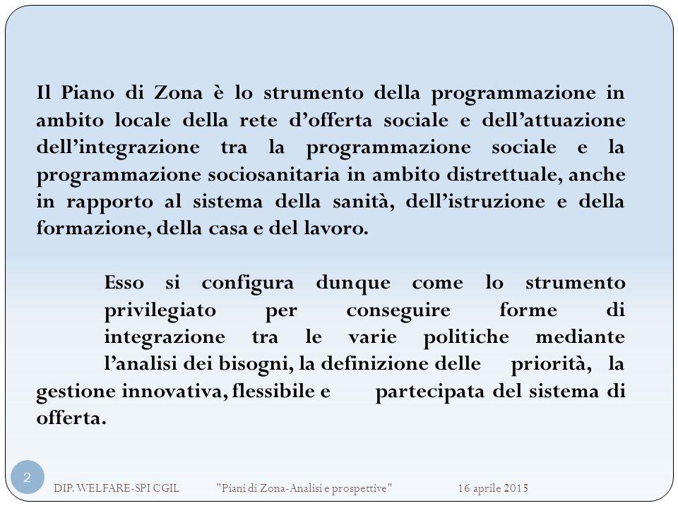 Il Piano di Zona è lo strumento della programmazione in ambito locale della rete d'offerta sociale e dell'attuazione dell'integrazione tra la programmazione sociale e la programmazione sociosanitaria in ambito distrettuale, anche in rapporto al sistema della sanità, dell'istruzione e della formazione, della casa e del lavoro.