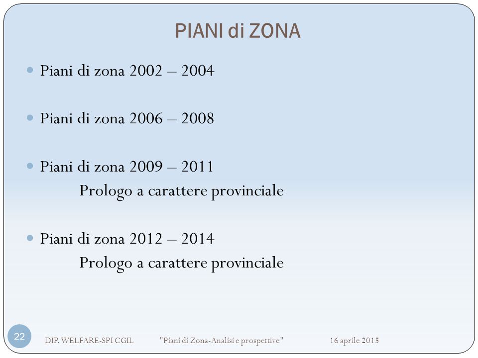 PIANI di ZONA Piani di zona 2002 – 2004 Piani di zona 2006 – 2008