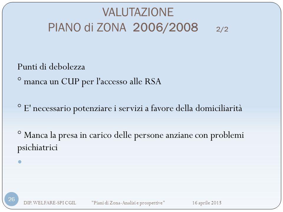 VALUTAZIONE PIANO di ZONA 2006/2008 2/2
