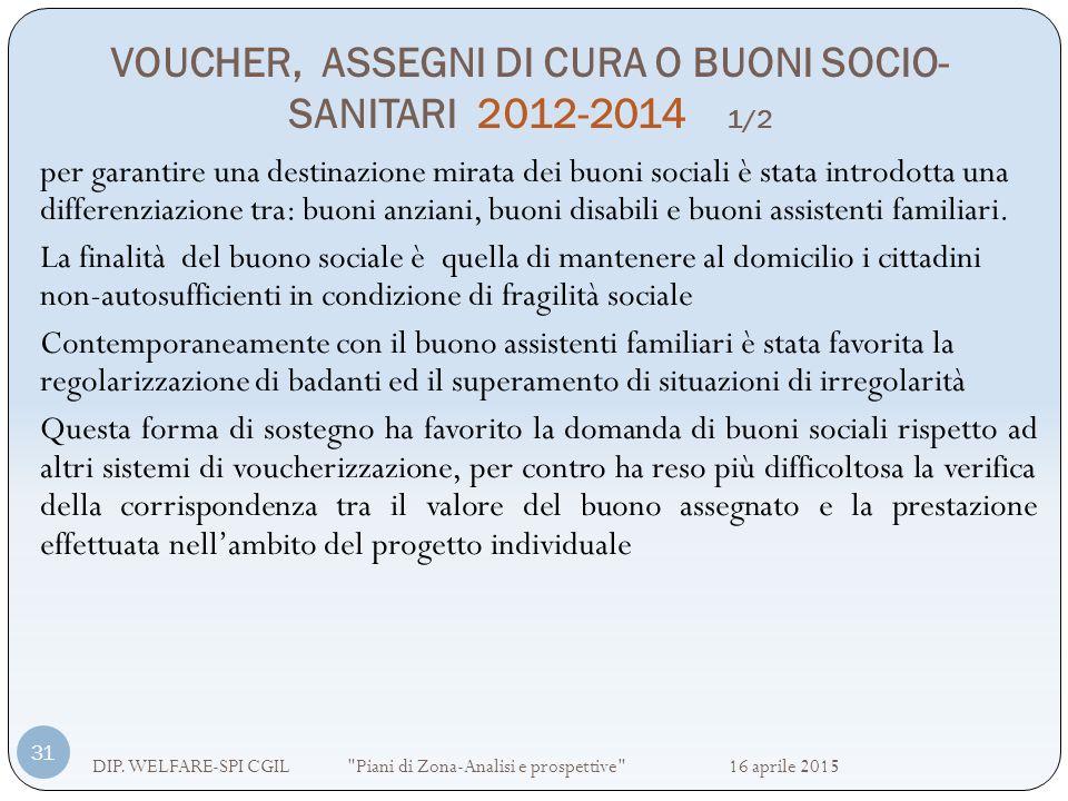 VOUCHER, ASSEGNI DI CURA O BUONI SOCIO-SANITARI 2012-2014 1/2