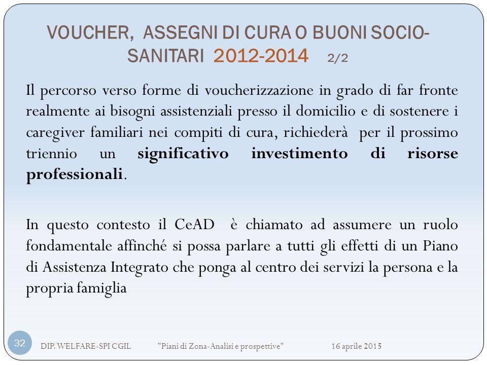 VOUCHER, ASSEGNI DI CURA O BUONI SOCIO-SANITARI 2012-2014 2/2