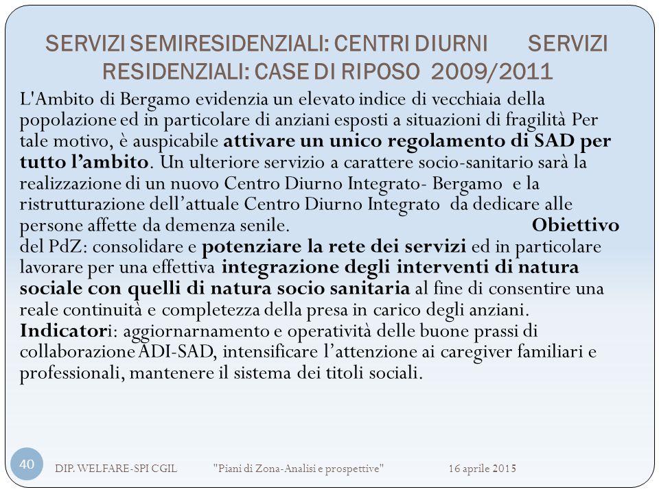 SERVIZI SEMIRESIDENZIALI: CENTRI DIURNI SERVIZI RESIDENZIALI: CASE DI RIPOSO 2009/2011