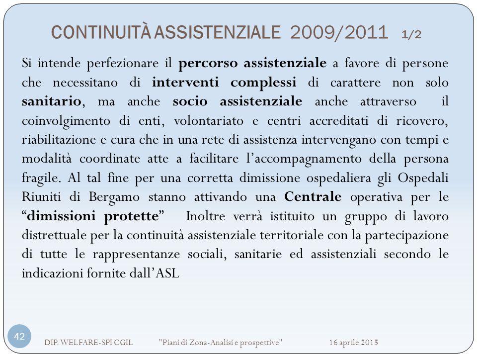 CONTINUITÀ ASSISTENZIALE 2009/2011 1/2