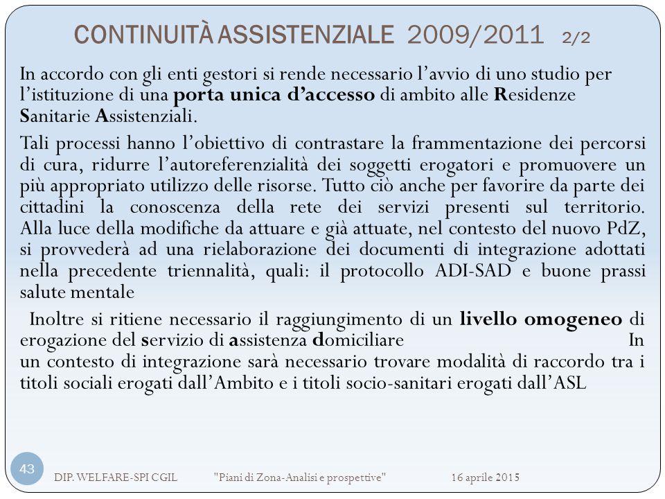 CONTINUITÀ ASSISTENZIALE 2009/2011 2/2