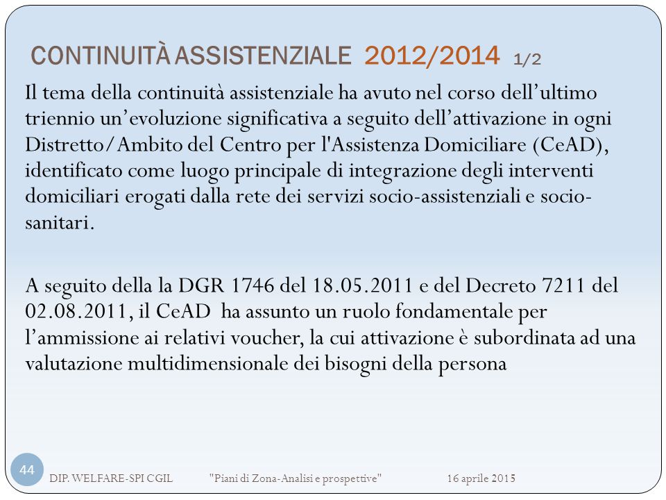 CONTINUITÀ ASSISTENZIALE 2012/2014 1/2