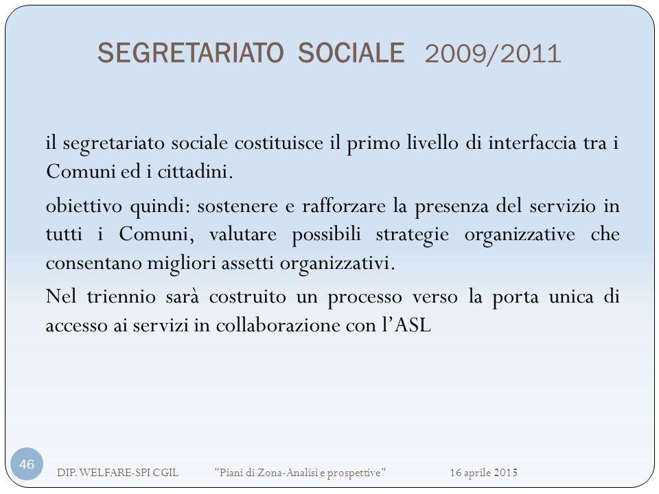 SEGRETARIATO SOCIALE 2009/2011