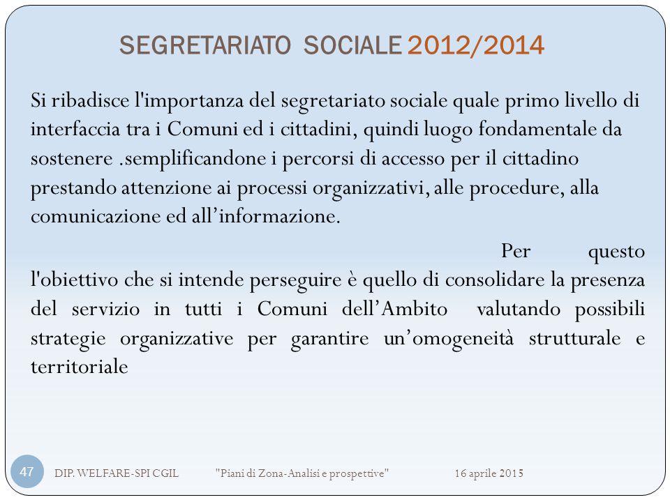 SEGRETARIATO SOCIALE 2012/2014