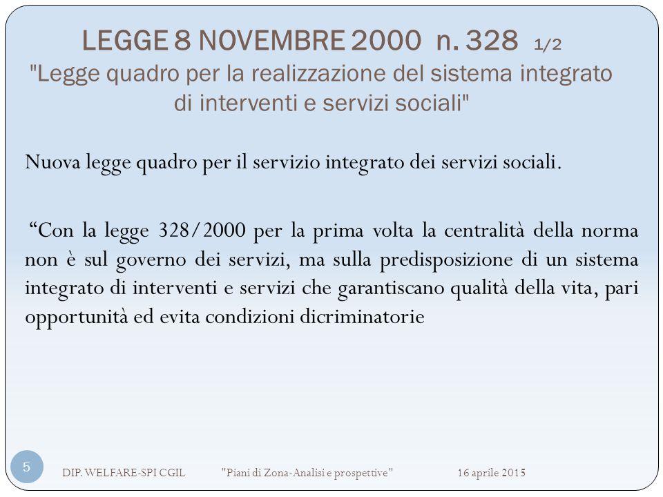 LEGGE 8 NOVEMBRE 2000 n. 328 1/2 Legge quadro per la realizzazione del sistema integrato di interventi e servizi sociali