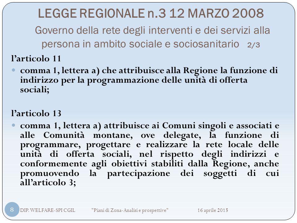 LEGGE REGIONALE n.3 12 MARZO 2008 Governo della rete degli interventi e dei servizi alla persona in ambito sociale e sociosanitario 2/3