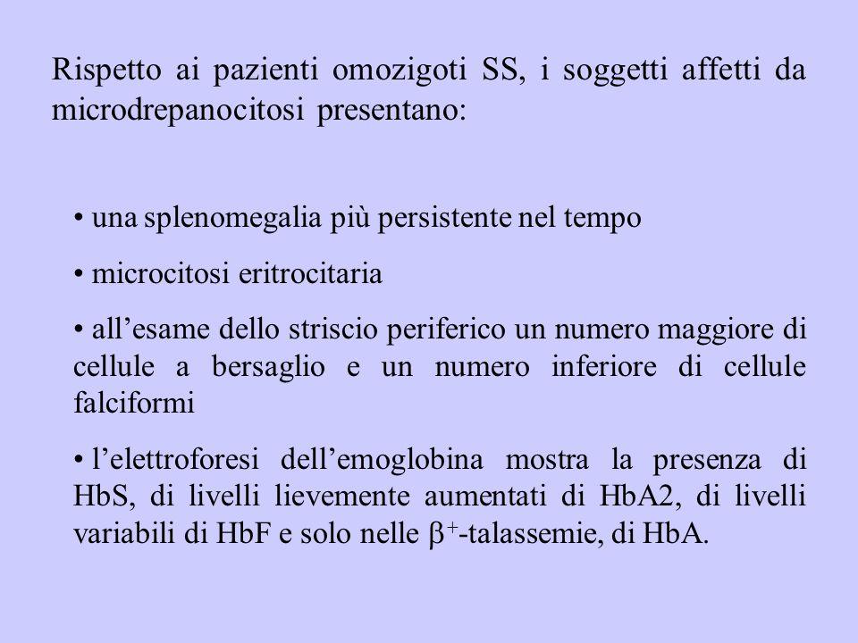 Rispetto ai pazienti omozigoti SS, i soggetti affetti da microdrepanocitosi presentano: