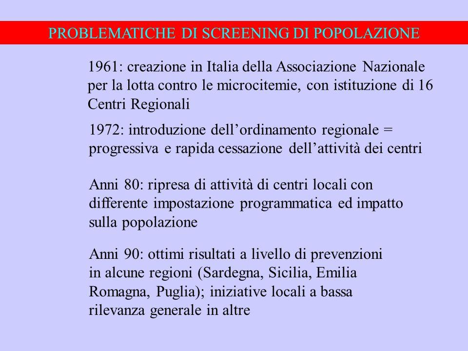 PROBLEMATICHE DI SCREENING DI POPOLAZIONE