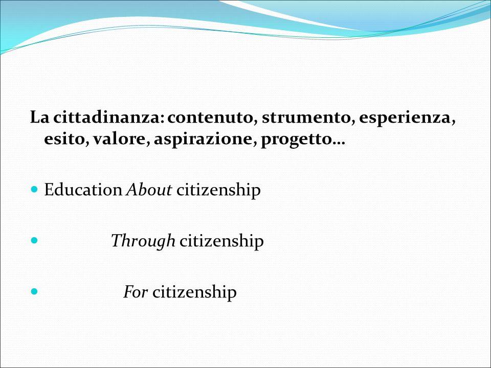 La cittadinanza: contenuto, strumento, esperienza, esito, valore, aspirazione, progetto…