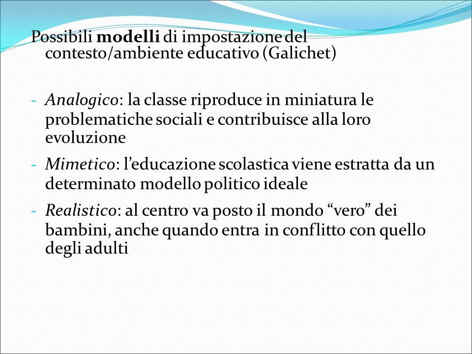 Possibili modelli di impostazione del contesto/ambiente educativo (Galichet)