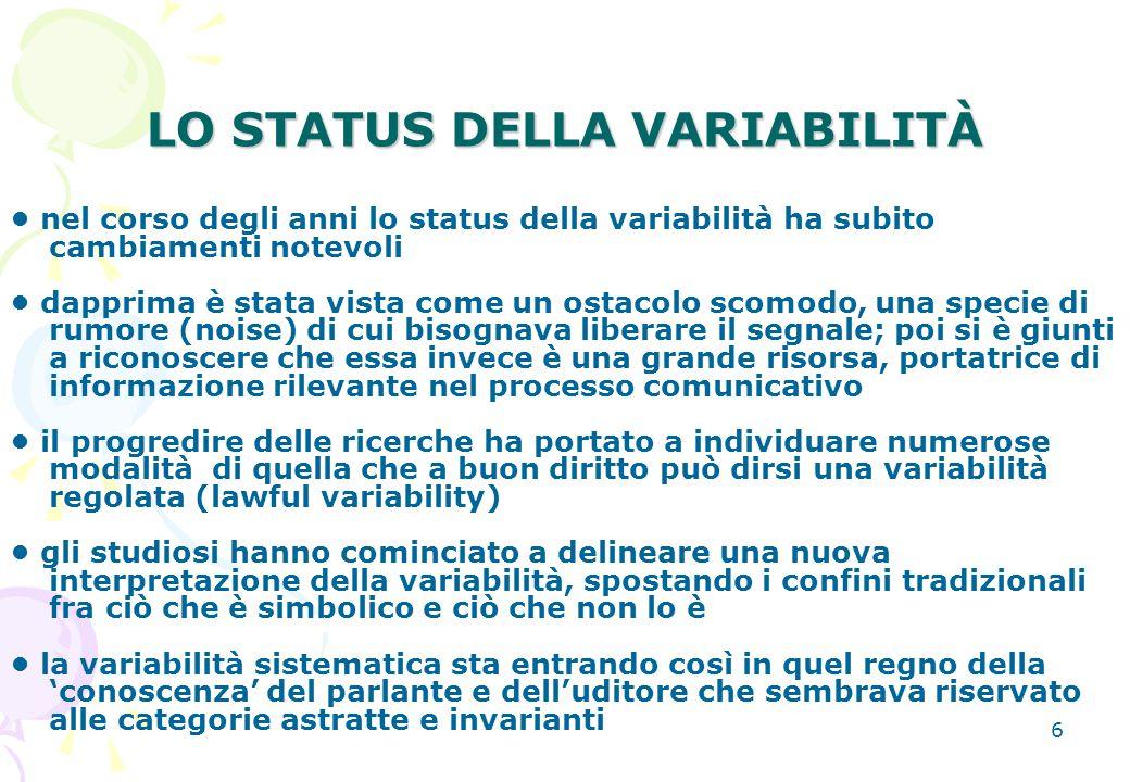 LO STATUS DELLA VARIABILITÀ