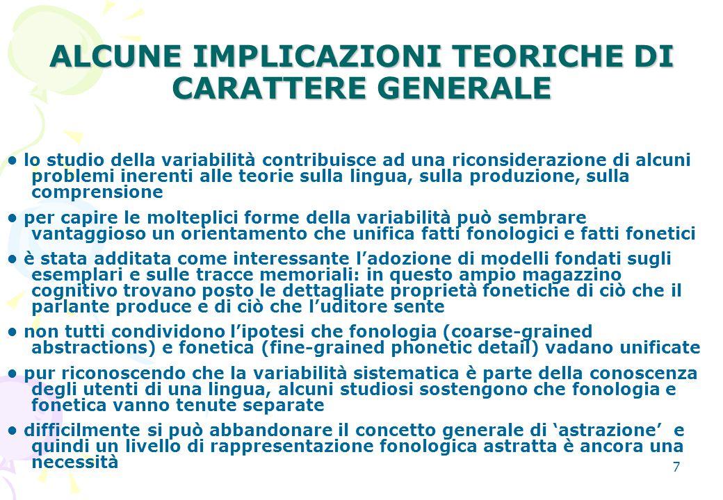 ALCUNE IMPLICAZIONI TEORICHE DI CARATTERE GENERALE