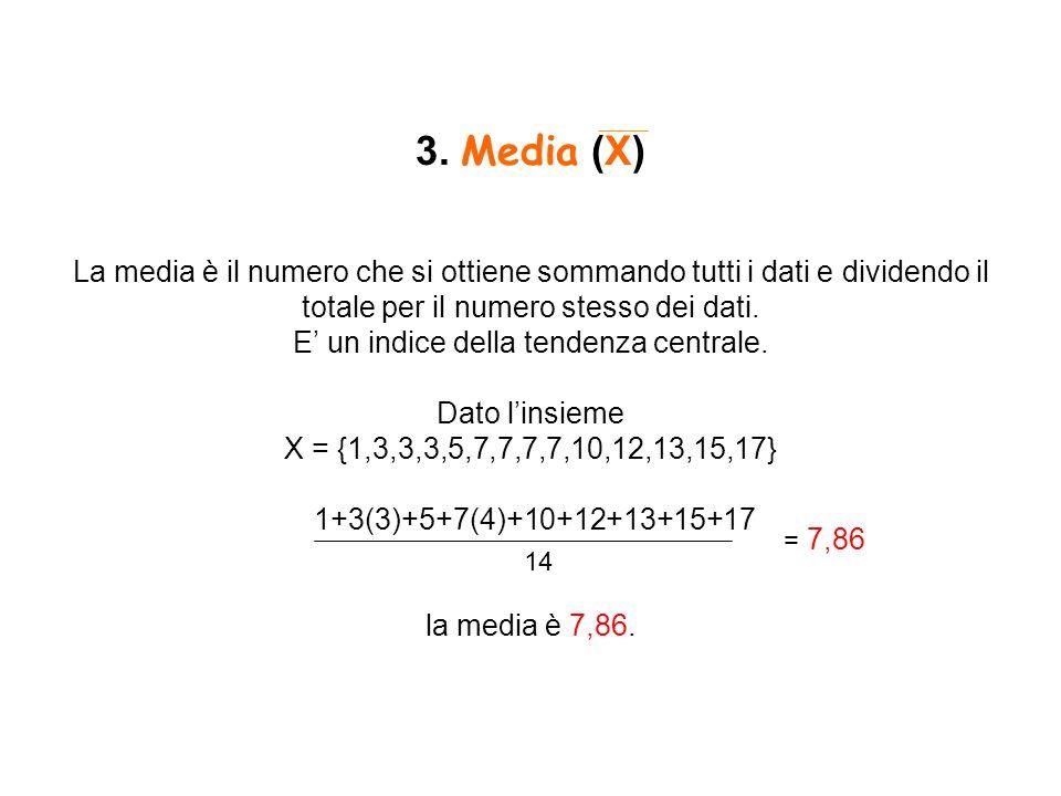 3. Media (X) La media è il numero che si ottiene sommando tutti i dati e dividendo il totale per il numero stesso dei dati. E' un indice della tendenza centrale. Dato l'insieme X = {1,3,3,3,5,7,7,7,7,10,12,13,15,17} 1+3(3)+5+7(4)+10+12+13+15+17 la media è 7,86.