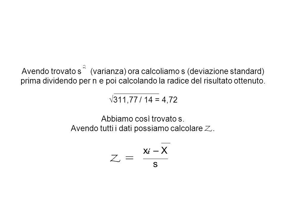 Avendo trovato s (varianza) ora calcoliamo s (deviazione standard) prima dividendo per n e poi calcolando la radice del risultato ottenuto. √311,77 / 14 = 4,72 Abbiamo così trovato s. Avendo tutti i dati possiamo calcolare Z.