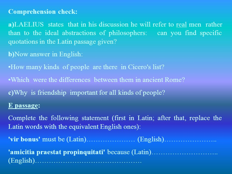Comprehension check: