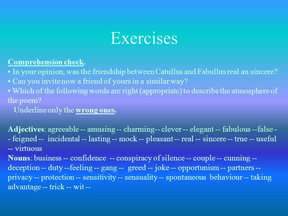 Exercises Comprehension check.