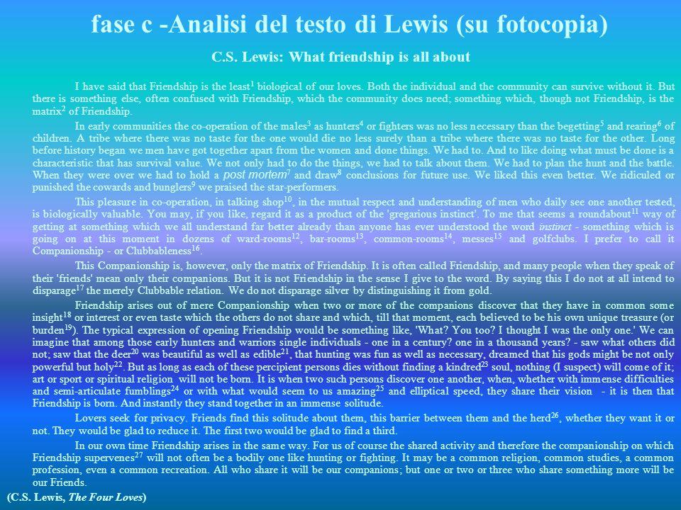 fase c -Analisi del testo di Lewis (su fotocopia)