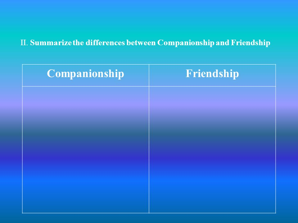 II. Summarize the differences between Companionship and Friendship