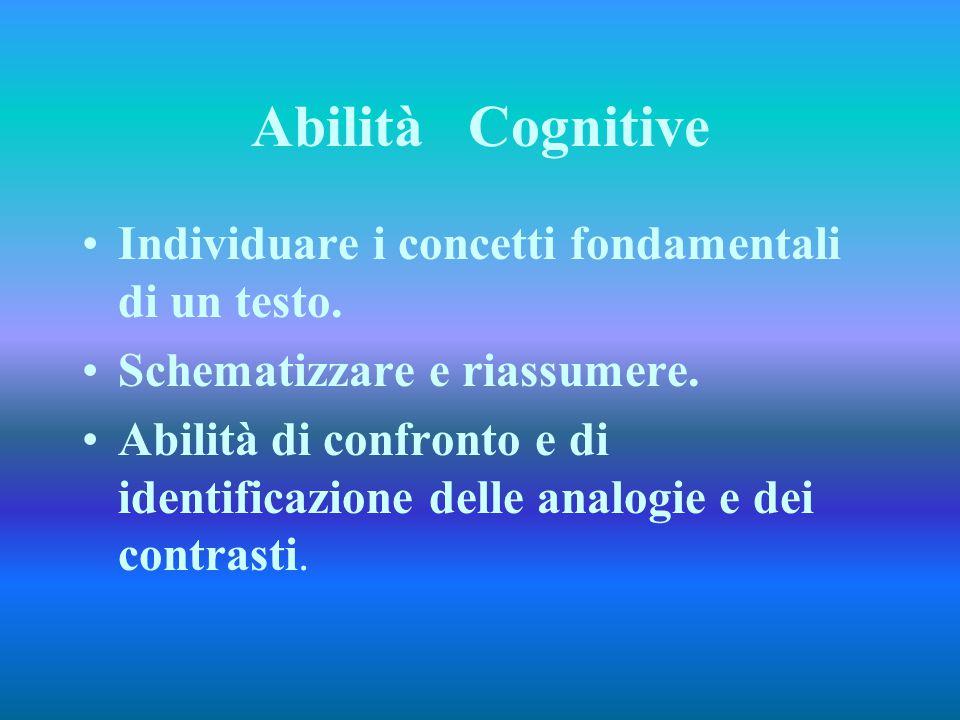 Abilità Cognitive Individuare i concetti fondamentali di un testo.