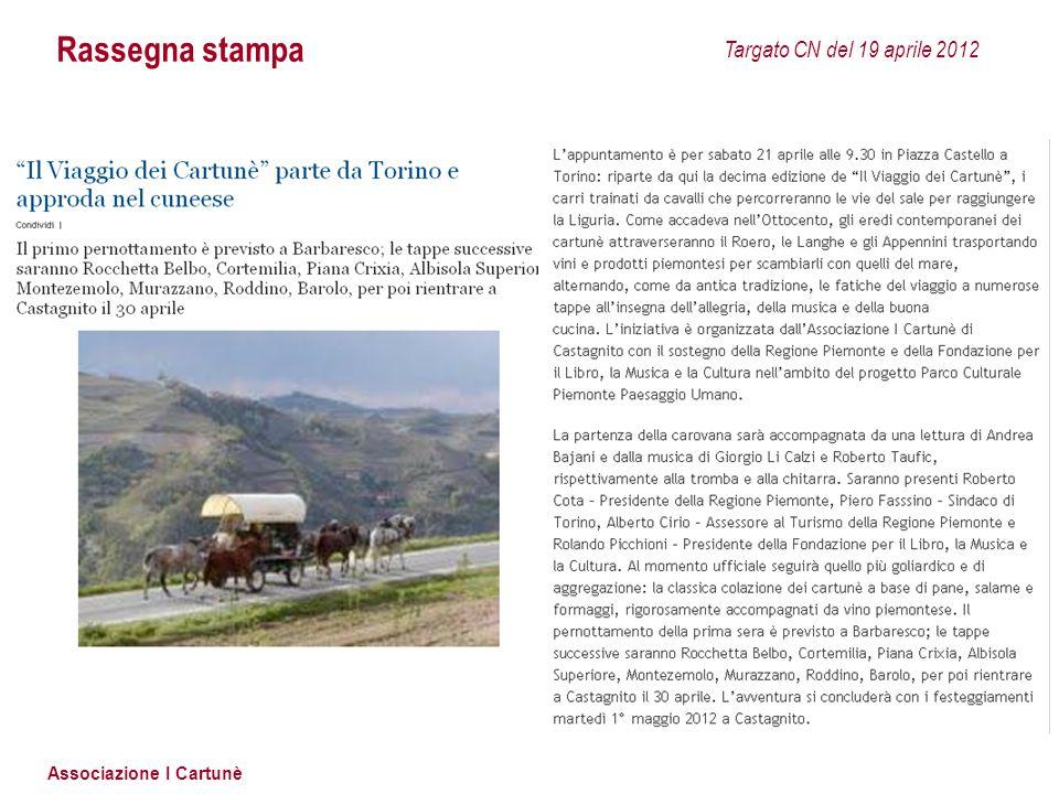 Rassegna stampa Targato CN del 19 aprile 2012