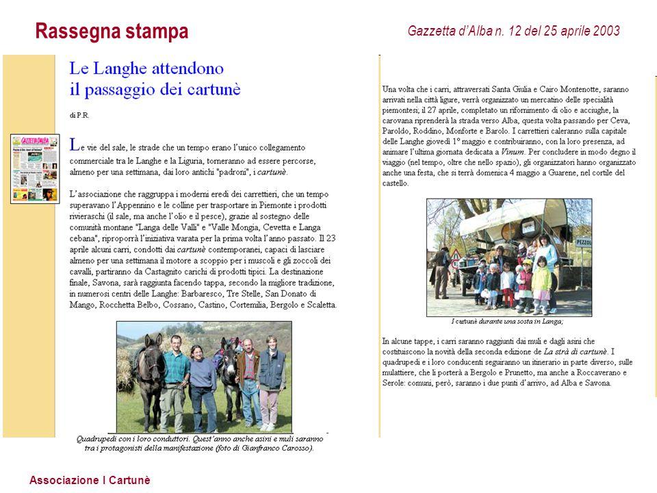 Rassegna stampa Gazzetta d'Alba n. 12 del 25 aprile 2003
