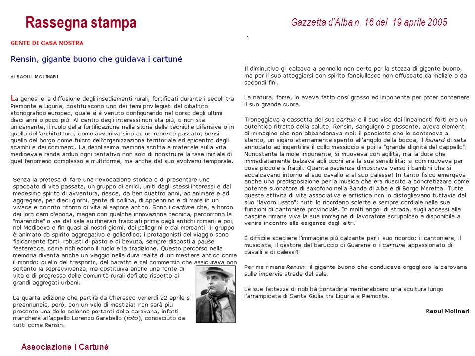 Rassegna stampa Gazzetta d'Alba n. 16 del 19 aprile 2005
